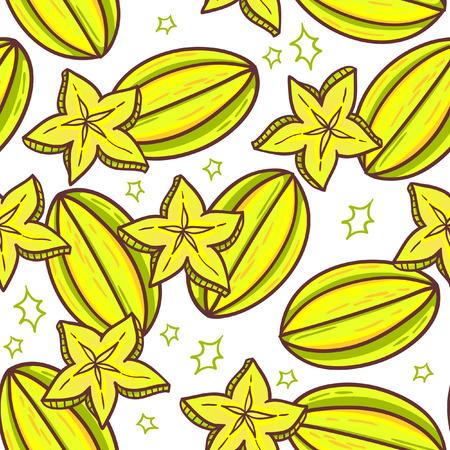 tropical fruit: Carambola seamless pattern. Starfruit tiled texture. Endless vector tropical fruit background. Illustration