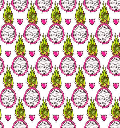 fruit du dragon: Seamless fruit du dragon. Pitaya sol texture tropicale fond.