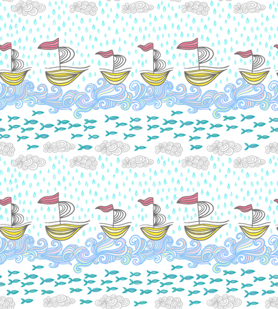 summer nature: Seamless pattern with ships and fishes in the sea waves. Tiled summer nature texture. Illustration