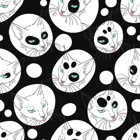 moggy: Black cat portrait. Hand drawn vector animal illustration. Seamless pattern pet background