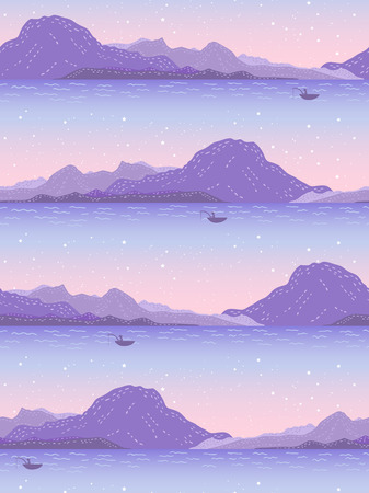 summer nature: Seamless pattern with mountains on the sunset background. Tiled summer nature texture.