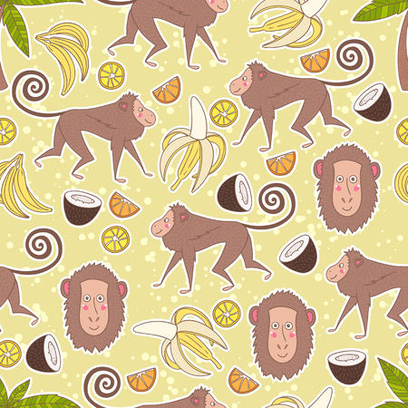 Hand-drawn seamless pattern background with monkey, palms and fruits such as banana, coconut, lemon and orange. Vector illustration Illustration