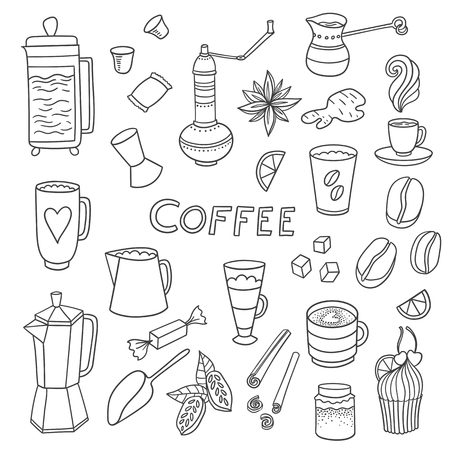 appetizing: Appetizing coffee time doodle set with cups, pots, cacao and coffee beans and sweets.