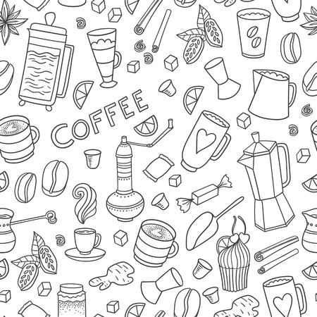 savory: Appetizing coffee time texture pattern background with cups, pots, cacao and coffee beans and sweets. Illustration