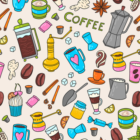 cacao: Appetizing coffee time texture pattern background with cups, pots, cacao and coffee beans and sweets. Illustration