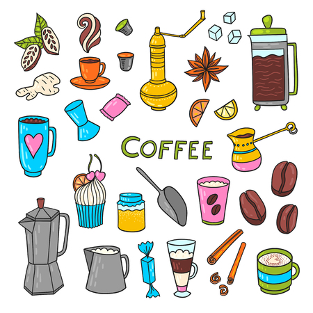 cacao: Appetizing coffee time doodle set with cups, pots, cacao and coffee beans and sweets.