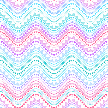 Seamless tribal zigzag pattern background. Aztec creative illustration. Illustration