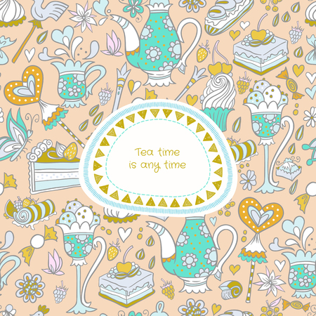 appetizing: Appetizing tea party texture pattern background with cakes and sweets and cute banner.