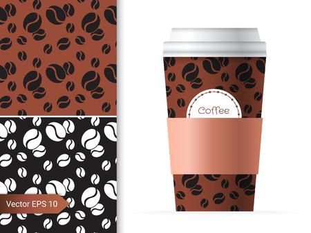 chicchi di caff?: Tazza di caffè illustrazione modello con i due basso design pattern di fagioli di colore marrone e cioccolato.