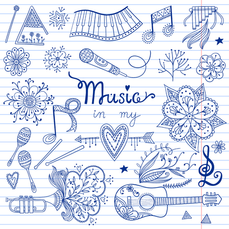 60's: Hand-drawn music instruments and ornamental floral elements in 60s style. Vector seamless pattern design.