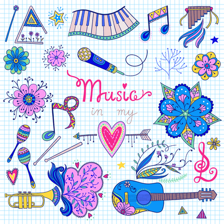 60s: Hand-drawn music instruments and ornamental floral elements in 60s style. Vector seamless pattern design.