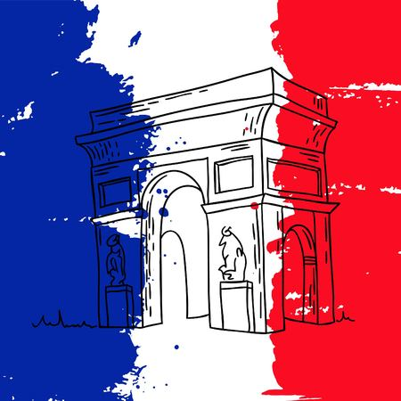 arc de triomphe: Vector french architecture landmark illustration. Arc de Triomphe in Paris on the painted France flag background.