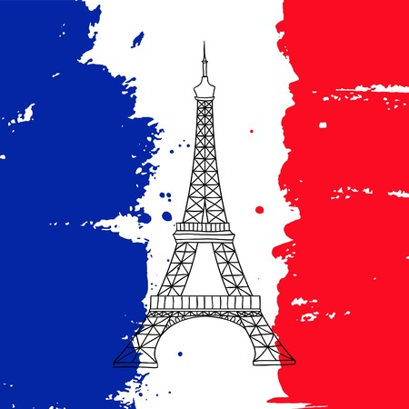 france painted: Vector french architecture landmark illustration. Eiffel tower in Paris on the painted France flag background. Illustration