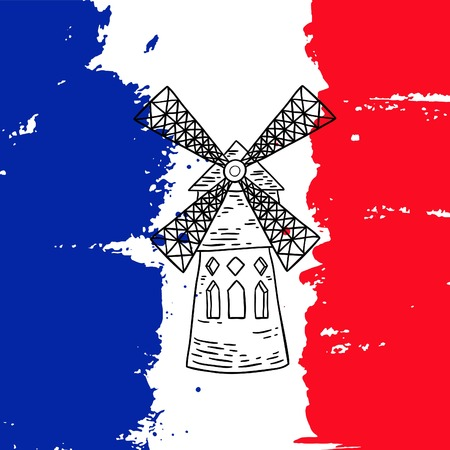 moulin: Vector french architecture landmark illustration. Moulin Rouge in Paris on the painted France flag background. Illustration