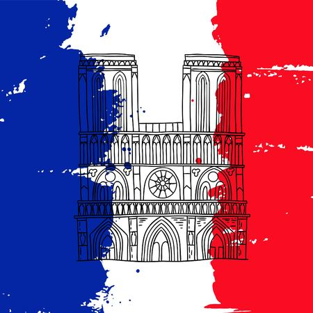 france painted: Vector french architecture landmark illustration. Notre Dame de Paris cathedral on the painted France flag background. Illustration