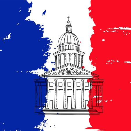 france painted: Vector french architecture landmark illustration. Pantheon in Paris on the painted France flag background.