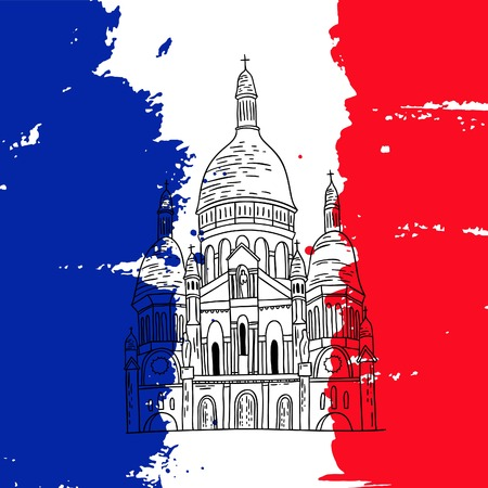 france painted: Vector french architecture landmark illustration. Paris basilica on the painted France flag background. Illustration
