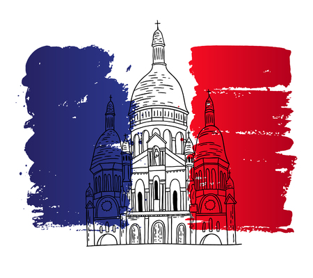 basilica: Vector french architecture landmark illustration. Paris basilica on the painted France flag background. Illustration