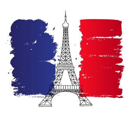 flag france: Vector french architecture landmark illustration. Eiffel tower in Paris on the painted France flag background. Illustration