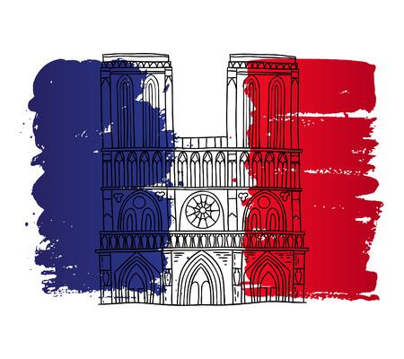 Vector french architecture landmark illustration. Notre Dame de Paris cathedral on the painted France flag background. Illustration