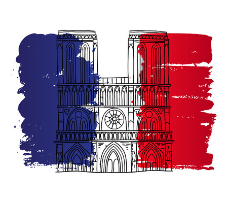 notre dame de paris: Vector french architecture landmark illustration. Notre Dame de Paris cathedral on the painted France flag background. Illustration