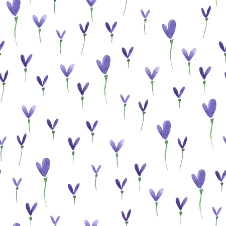 Watercolor summer heart flower pattern. Vector abstract nature seamless background. Ilustração