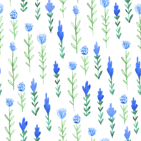 Watercolor sketch summer flower pattern. Vector trace vintage nature seamless background.