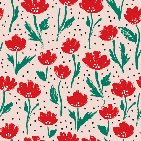 Watercolor summer poppy flower pattern. Vector nature seamless background.