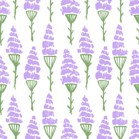 Watercolor summer lavender flower pattern. Vector nature seamless background.