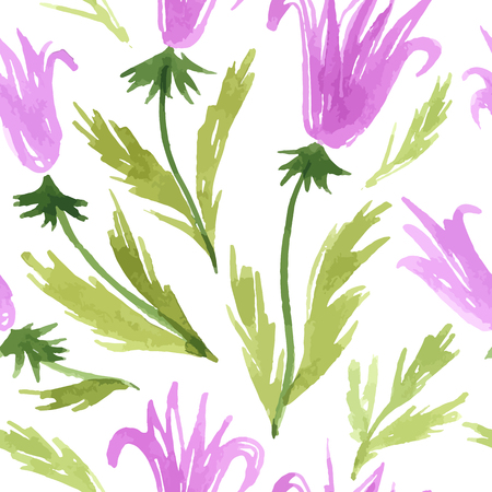 Watercolor sketch summer lily flower pattern. Vector trace nature seamless background.