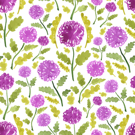 Watercolor sketch summer wild flower pattern. Vector trace nature seamless background.