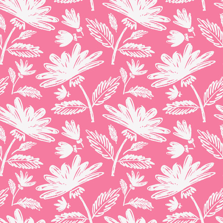 Watercolor sketch summer peony flower pattern. Vector trace nature seamless background.
