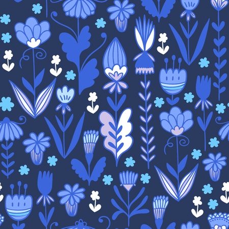 Seamless floral pattern background. Vector flower nature illustration. Colorful doodle repeats for fabrics and packaging.