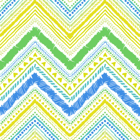 Seamless tribal zigzag pattern background that is hand-drawn with markers. Aztec creative illustration. Ilustração