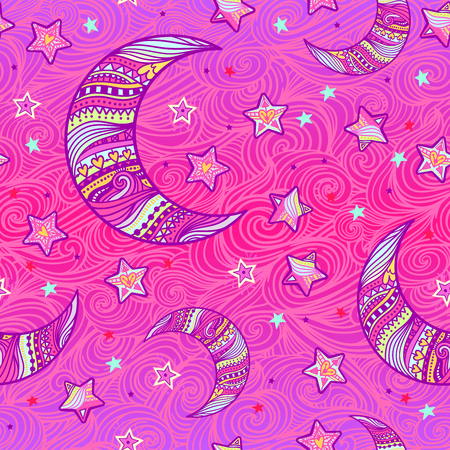 Doodle seamless dream night pattern background with stars and crescent moon in hand-drawn zentangle style