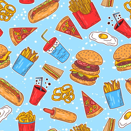 Hand-drawn seamless american fast food pattern with hanburger hot dog and fries. Vector illustration. Ilustração