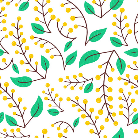 Seamless forest yellow berry pattern background. Vector nature illustration. Ilustração