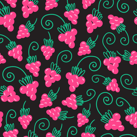 Seamless pink raspberry pattern background. Vector nature illustration.
