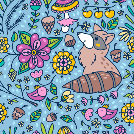 Seamless forest pattern background with raccoon and flowers. Spring florals and leaves texture.