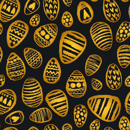 Watercolor spring shiny egg pattern. Vector vintage nature seamless background for Ester holidays.