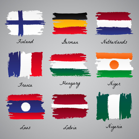 Set of painted vector flag of different eroupean and asian countries. Vector sketch illustration collection.