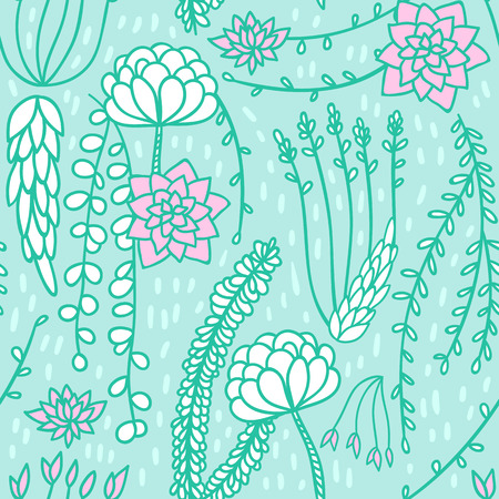 Seamless floral pattern background. Vector flower nature illustration. Colorful doodle repeat for fabrics and packaging with succulent flowers in gentle pale mint color.