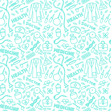 Health care and medicine seamless pattern. Vector illustration of medical supplies and pharmacy icons. Illustration