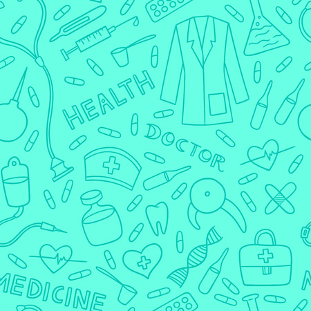 Health care and medicine seamless pattern. Vector illustration of medical supplies and pharmacy icons. Ilustração