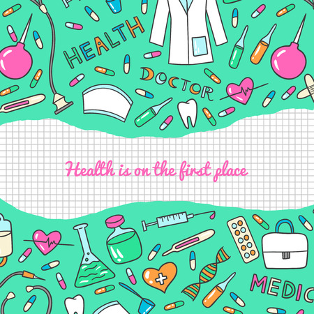 Health care and medicine art background. Vector illustration of medical supplies and pharmacy icons.