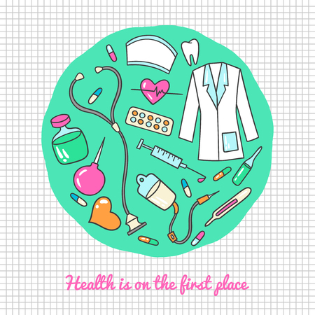 Health care and medicine art. Vector illustration of medical supplies and pharmacy icons.