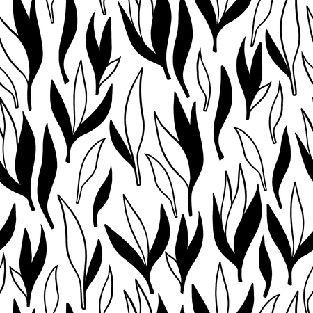 Hand-drawn ornamental lineart collection. Vector black and white nature leaves chic boho tribal illustration set. Ilustração