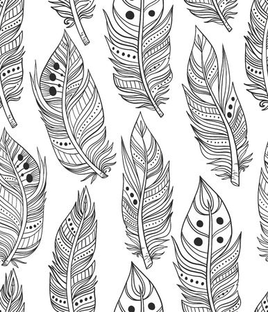 Hand-drawn ornamental feather lineart collection. Vector black and white chic boho tribal illustration set. Ilustração