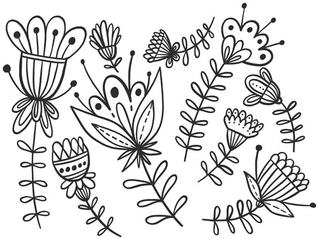 Floral vector illustration in zentangle style for coloring book, anti-stress for adults. Black and white isolated line art.