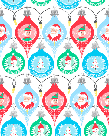 Christmas winter seamless pattern background with colorful bubbles featuring new year characters such as Santa Claus, elf helper, snow man and x-mas tree.